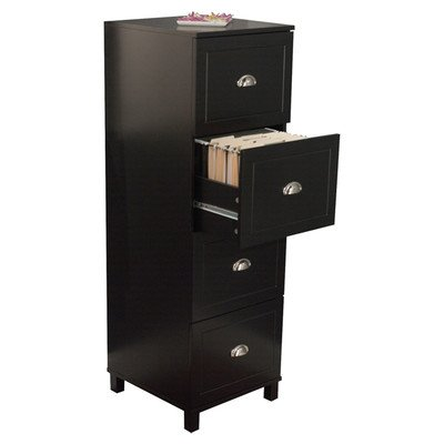Bradley 4 Drawer Filing Cabinet Finish: Black