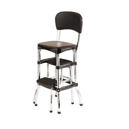 Amazon.com: NEW BLACK Vintage Kitchen Retro Chair Bar Step Stool ...