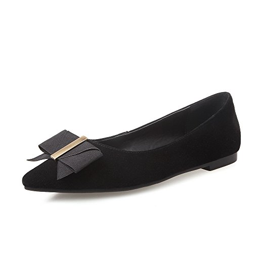 Closed Toe Women's WeenFashion Shoes Heels with Bows On Pumps Solid Black Low Frosted Pointed Pull ZB1wa8qx