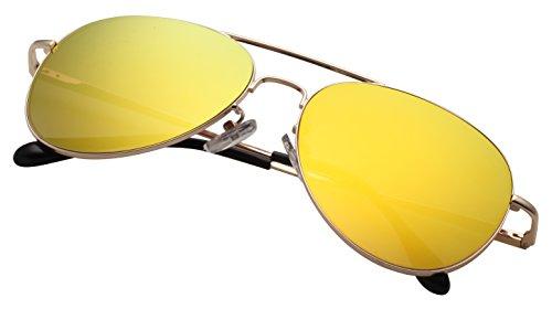 Polarized Aviator Sunglasses for Women Men Mirrored Lens Metal Frame UV Protection pk2000 ()
