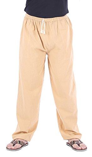 CandyHusky Men Casual Lounge Jogging Workout Yoga Pants Elastic Waist Drawstring (Medium/Large, Beige) -