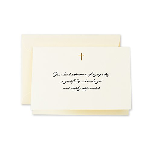 Crane & Co. Hand Engraved Gold Cross Sympathy Acknowledgement Note (CF1445), Pack of 10