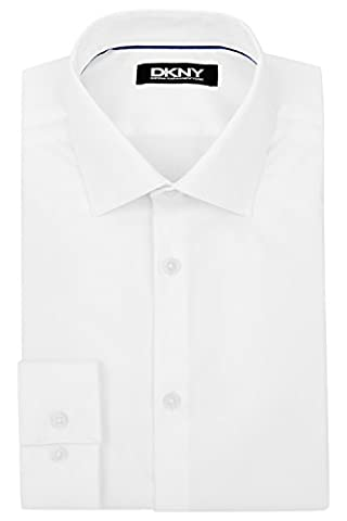 DKNY Men's Slim Fit White Single Cuff Sateen Stretch Dress Shirt 15.5 inches White - Sateen Single