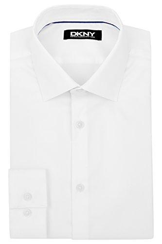 DKNY Slim Fit Weiß Knopfmanschette Sateen Dehnbar Hemd