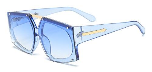 VOLCHIEN Oversized Square Sunglasses Navy Blue Sunglasses Flat Lens Designer sunglasses for women for Women Men UV Protection - For Sale Sunglasses Futuristic