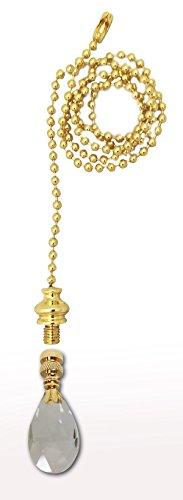 Royal Designs Fan Pull Chain with Radiant Teardrop Clear Crystal Finial - Polished Brass (Chain Teardrop Ceiling Pull Fan)