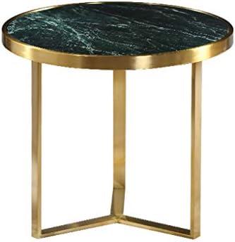 Hoge Kwaliteit Goedkoop GWFVA gouden salontafel van roestvrij staal, 2-delige bijzettafel, tafelblad van smaragdgroen marmer, geborsteld verguld frame, voor de sofakant in de woonkamer  5Habnht