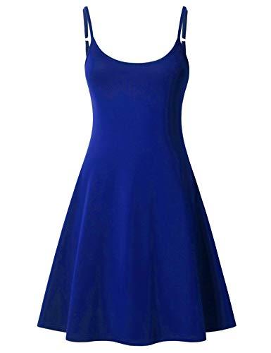 Perfashion Women's Casual Royal Blue Dress Sleeveless Skater Swing Slip Strappy Solid Dresses (Slip Simple Womens)