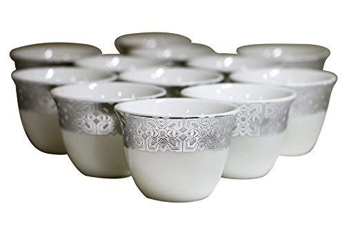 Turkish Arabic Coffee Cups Gawa 3 oz 80 cc Set of 12 (Silver ()