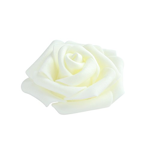Pparty 3-Inch Fake Flower Heads, 30-Pieces, Milk White