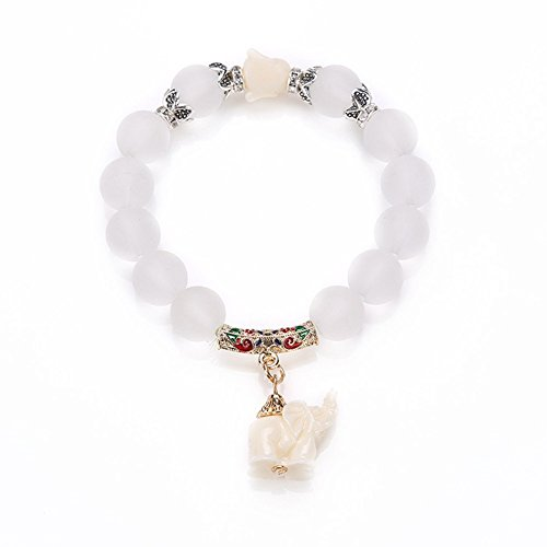 Wening Natural Frosted Matte Crysta Bracelet Cute Elephant Baby Quartz Crystal Wrap Opal Elephant Bracelet(golden) -