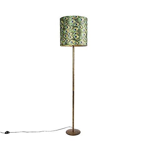 QAZQA Moderno Lámpara de pie vintage dorada con pantalla ...