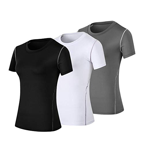 WANAYOU Women's Compression Shirt Moisture Wicking Performance Workout Athletic Running Short Sleeve T Shirts (M(US8-10), 3 Pack(Black+White+Grey)) ()