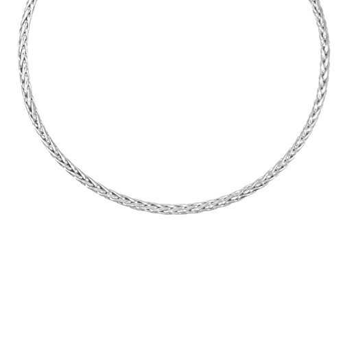 Collier Femme Or Blanc- Maille Palmier