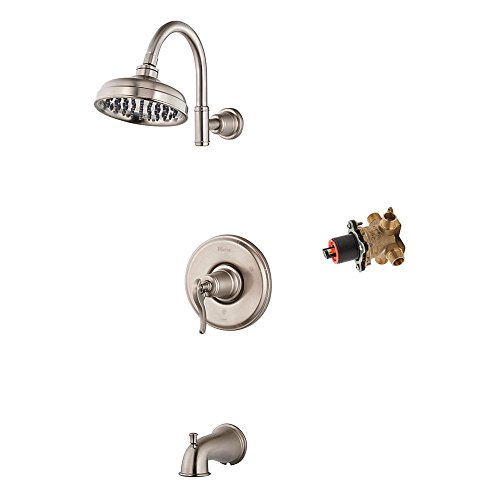 (Pfister KG898YP-R-BN Ashfield Tub and Shower Trim with Rough without Stops, Brushed Nickel)