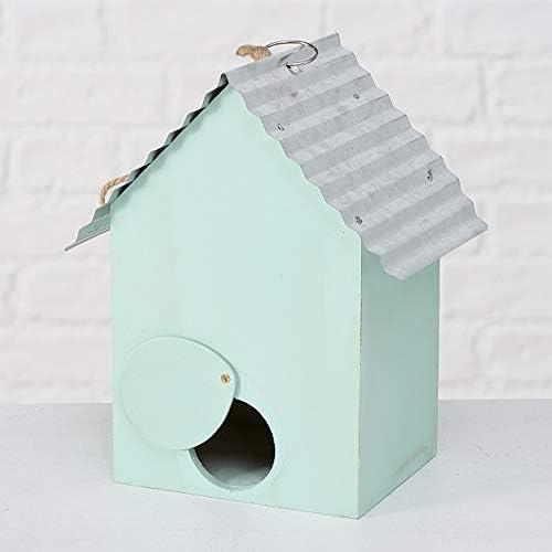 CasaJame Maison Ameublement Accessoires Jardinage D/écoration Jardin Nichoir pour Oiseaux Bleu Clair avec D/écoration Floral 15x12x22cm