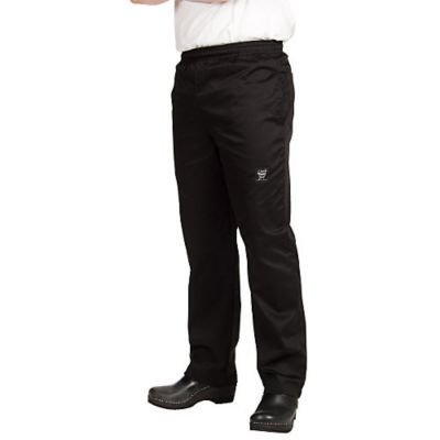 Chef Revival P020BK 24/7 Poly Cotton Blend Elastic Waistband Chef Pant with Drawstring, Large, Black by Chef Revival