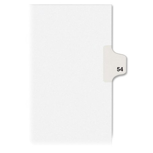 Kleer-Fax Letter Size Individually Numbered 1/25th Cut Side Tab Index Dividers, 25 Sheets per Pack, White, Number 54 (91054)