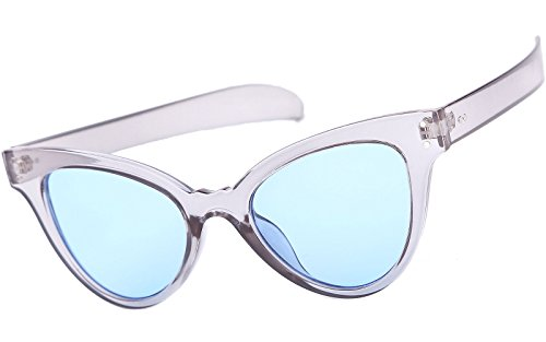 Beison Classic Womens Cat Eye Glasses Sunglasses Tinted Lens UV400 Protection (Clear blue frame / Light blue lens, - Prescription Glasses Blue Tinted