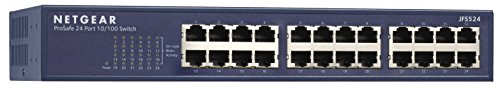 NETGEAR 24-Port Fast Ethernet Unmanaged Switch, Rackmount, Fast Ethernet, ProSAFE Lifetime Protection (JFS524) by NETGEAR