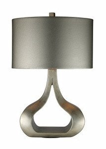 Dimond D1840 17-Inch Width by 26-Inch Height Carolina Table Lamp in Silver Leaf with Oval Metallic Silver Faux Leather Shade and Silver Foil Liner - Leaves Lamp
