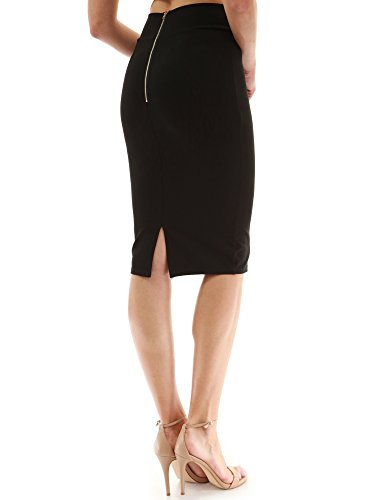 PattyBoutik Women Back Slit Pencil Skirt (Black X-Small) ()