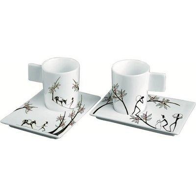 DEAGOURMET 197 Origini Set 6 Espresso Cups and 6 Saucers, Hand-Decorated Porcelain, White