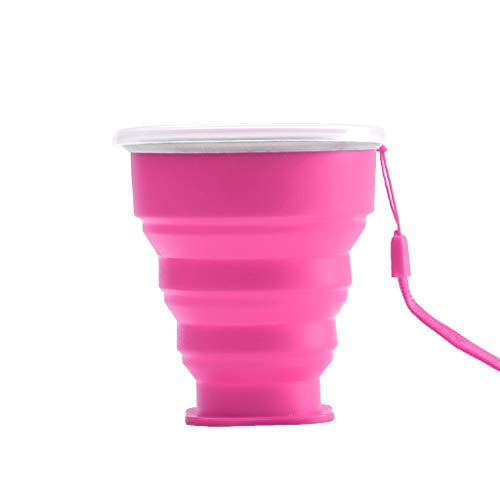 XZDCDJ Folding Cup Portable Silicone Telescopic Drinking Collapsible Travel Camping (pink) - Band Saw Hex
