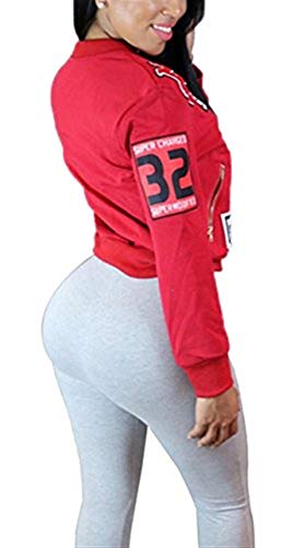 College Tempo Rot Lunghe Primaverile Pilot Chic Cerniera Outerwear Sportivo Corto Cute Donna Autunno Con Giacca Patch Eleganti Fashion Giubbino Maniche Libero qTWxRBw