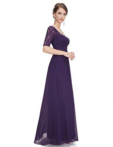 Elegante con Evening 08038 donna Lace maniche viola Ever per Evening calze pretty lunghe scuro Dress qYwStA