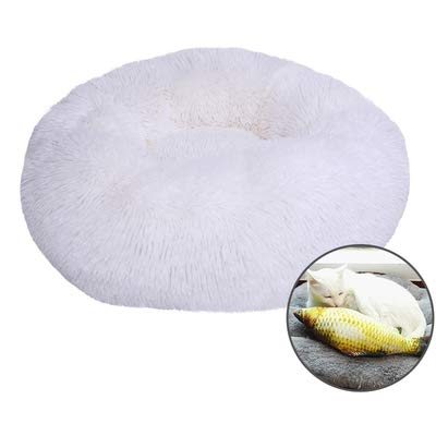 (GXLO Round or Oval Shape Dimple Plush Nesting Dog Bed Pet Cat Bed for Cats and Small Dogs,whiteB,60x22cm )