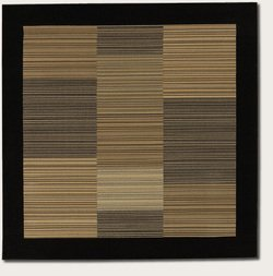 Couristan 0766/0601 Everest Hamptons/Multi Stripe-Black 7-Feet 10-Inch Square Rug - Multi Stripe Square Rug