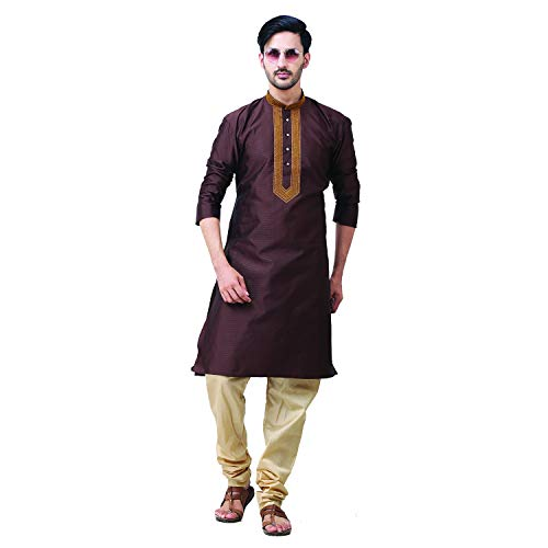FOCIL Diwali Special Silk Blend Brown Kurta Pyjama with Embroidary for Men, - Kurta Mens