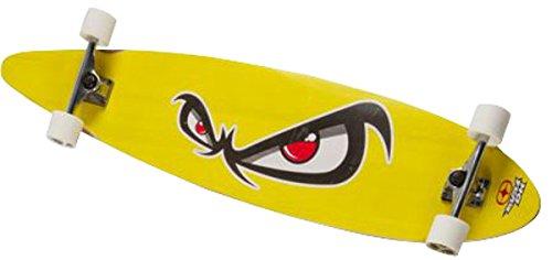 NO FEAR Longboard 112x26cm Funboard Skateboard Surfboard Holzboard Big Wheels , Modell:gelb