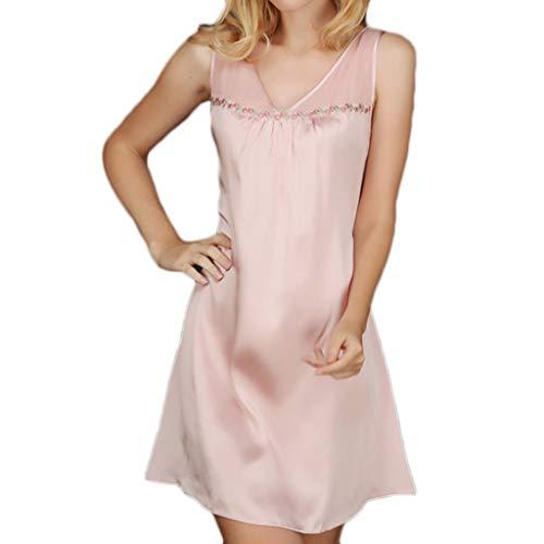Interior Camisón Verano Atractiva La Mujeres Del Las Seda De Bordado Kimono Cuello Pink Sling Comodidad Noche Dulce Túnica V Vestido Ropa w4zqI0xP