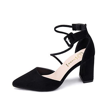 RUGAI-UE Moda de Verano Mujer sandalias casuales zapatos de tacones PU Confort caminar al aire libre,gris,36 Gray