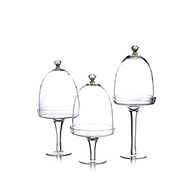 The Jay Companies Glass Pedestal Plates with Gold Knobs (Set of 3), Clear