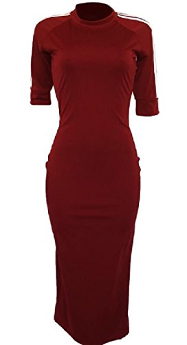 Dress Midi Sleeve Half Womens Pencil Long Bodycon Wine Red Jaycargogo pFR6Cwqp