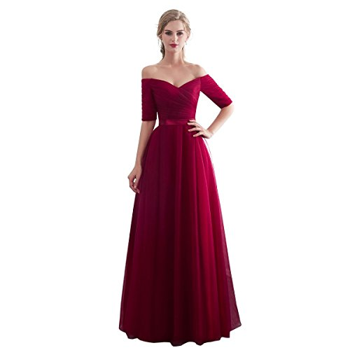 Dresses Tulle Long Bridesmaid Dress for Wedding Party Formal Prom Gown Color Burgundy, Size US06 ()
