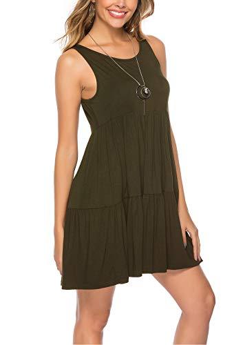 ABirdon-Mujeres-Vestido-Verano-Casual-Vestido-con-Sin-Mangas-Cuello-Redondo-Mini-Vestidos-Plisados-Playa-Camison