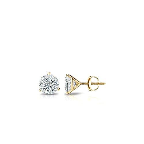 Diamond Wish 14k Yellow Gold Round Diamond Stud Earrings (1/6 cttw, J-K, I1-I2) 3-Prong Martini set with Screw-Back