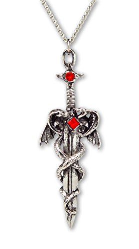 Dragons Wrapped Around Sword Medieval Renaissance Silver Finish Pendant ()