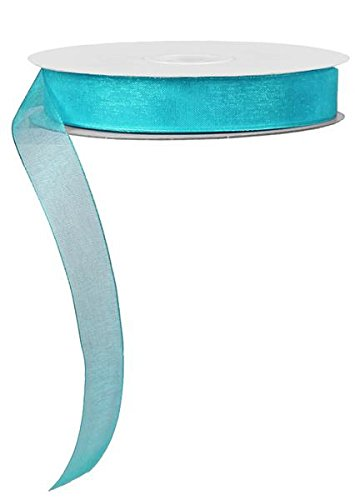"5/8"" Sheer Organza Ribbon, No Wire - 25 Yards (Aqua)"
