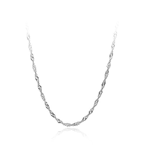 - Sterling Silver s925 Singapore Chain Twisted Curb Cable Solid Hypoallergenic Dainty Necklace,16
