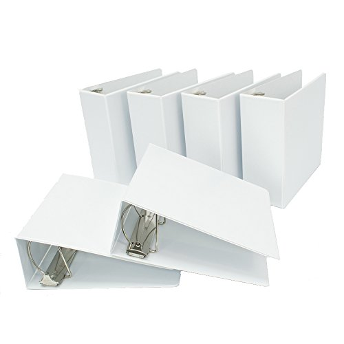 Binders.com 4 Inch D-Ring Heavy Duty Customizable / View Binder, White, Pack of 6 (11400SLNTD)