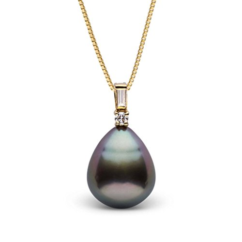 Diamonds 12mm Tahitian Pearl Pendant - Adore Collection Drop 11.0-12.0 mm Tahitian Cultured Pearl and Diamond Pendant - Yellow Gold - 18 Inch