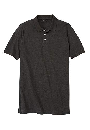 KingSize Men's Big & Tall Longer-Length Pique Polo Shirt - Big-4XL, Heather Charcoal