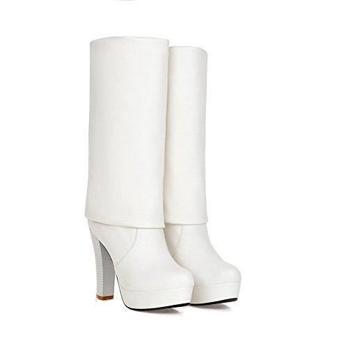 Leather Heels Boots Chunky Heels amp;N Chunky Imitated A Platform Girls White Oq8SPH