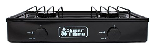 Super Flama 2Q-N Estufa de Gas de 2 Quemadores con Cubierta Porcelanizada y Cuerpo de Lamina Pintada, color Negro