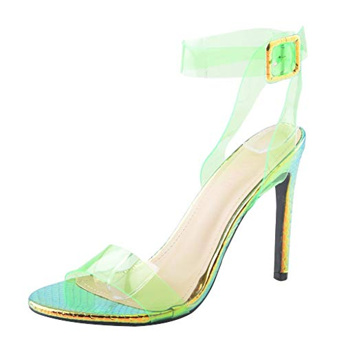 Womens Clear Ankle Strap Heels Open Toe Slingback Stiletto Heeled Strappy Sandals Green PVC Size ()